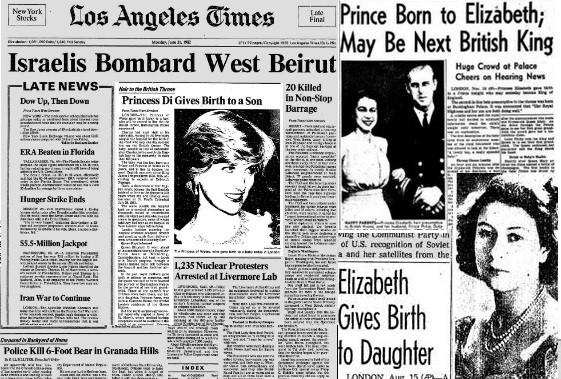 Compilation of L.A. Times front pages announcing the births of new members of the British royal family.