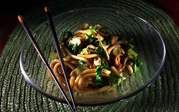 Chilled Udon With Teriyaki Chicken and Baby Bok Choy