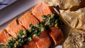 Slow-baked salmon filet with preserved lemon and herb relish