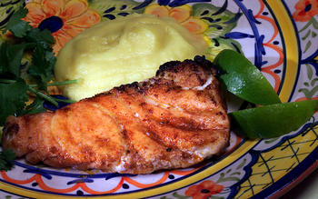 Grilled Sea Bass With Indian-Spiced Cauliflower Puree