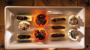 Tapenade-stuffed vegetables