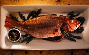 Whole fish with tapenade