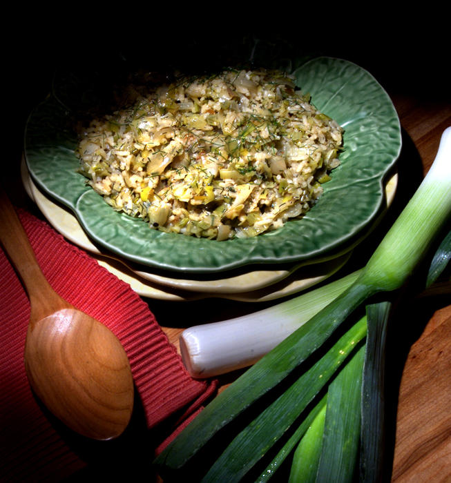 Leeks with rice