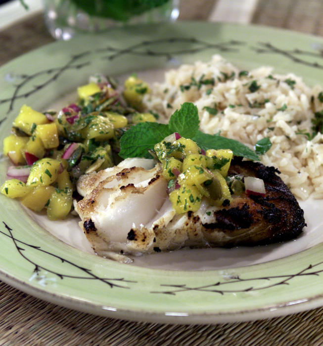 Grilled Sea Bass With Mango Salsa