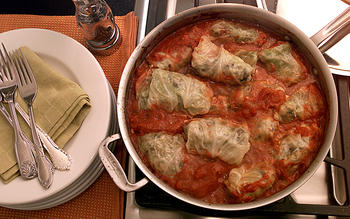 Cabbage Rolls With Lamb and Pine Nuts