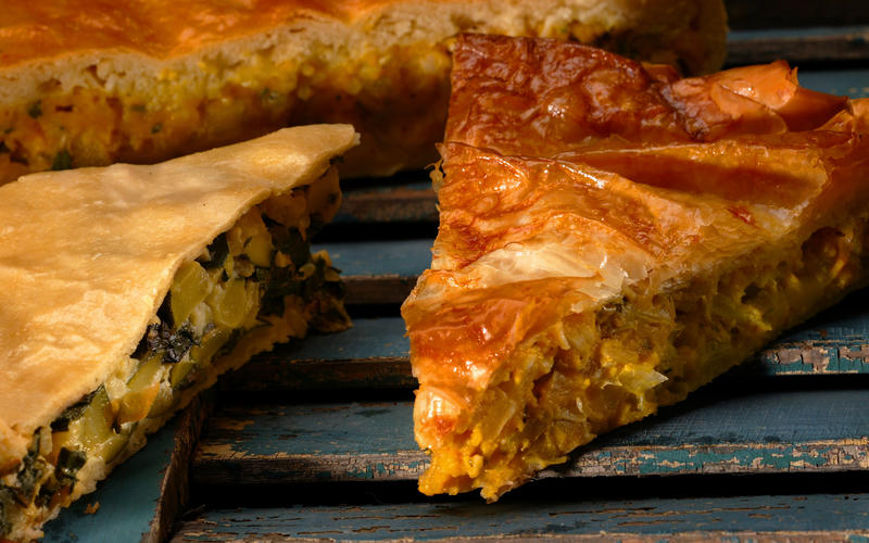 Greek winter squash and leek pie