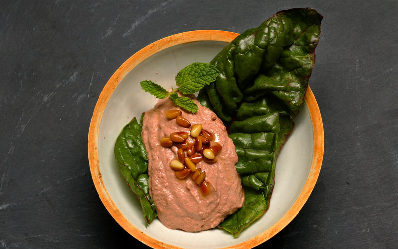 Swiss chard stalk and tahineh dip (Silq bil-tahina)