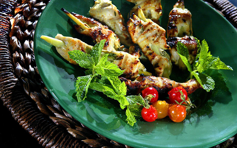 Coconut chicken skewers
