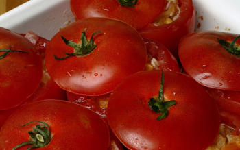 Tomatoes Stuffed With Pine Nuts and Prosciutto