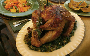 Rosemary-Meyer lemon turkey with wilted escarole