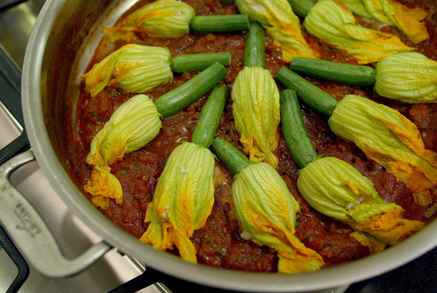 Crab-stuffed squash blossoms