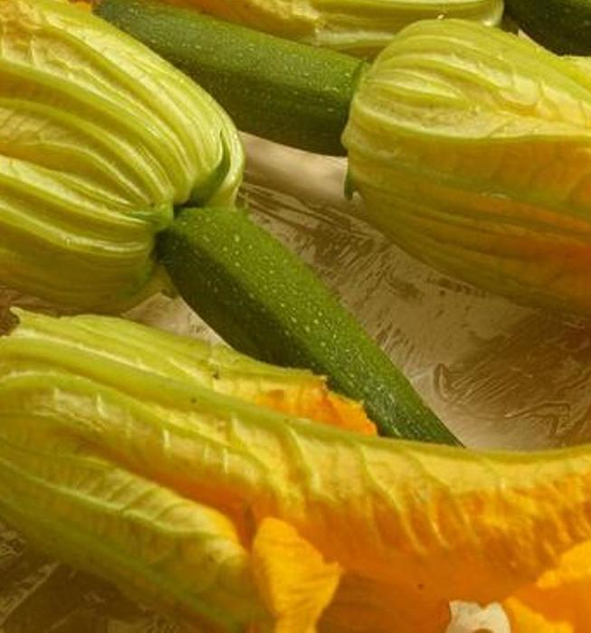 Squash blossoms baked with Taleggio and almonds