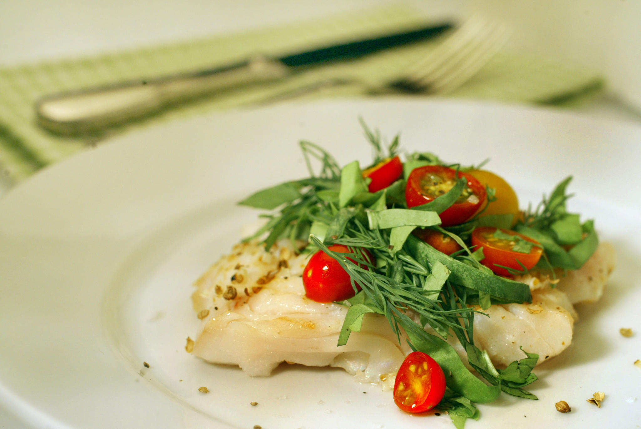 Grilled cod with chiffonade of sorrel