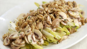Endive and mushroom salad with walnut vinaigrette