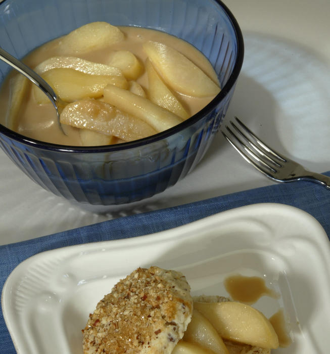 Pear cobbler with hazelnut biscuits