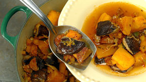 Pumpkin ragout with chorizo and shiitake mushrooms