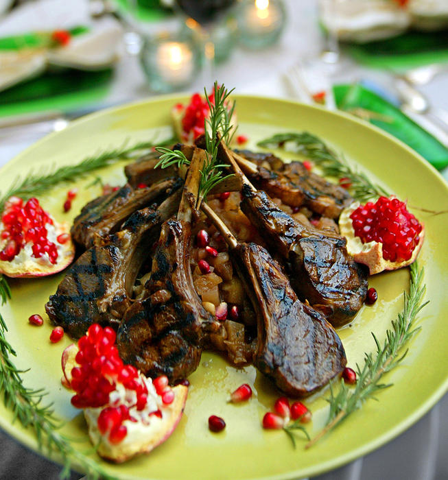 Pomegranate-glazed lamb chops with rosemary applesauce