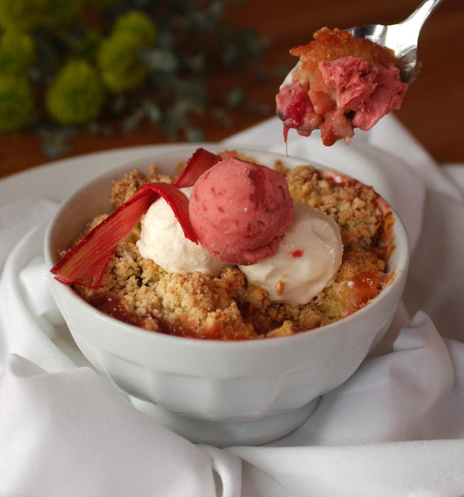 Literati II's strawberry and rhubarb crisp with creme fraiche sherbet and strawberry ice cream