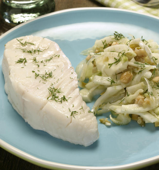 Cold-poached halibut with fennel-olive salad
