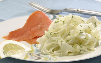 Shaved fennel salad with smoked salmon