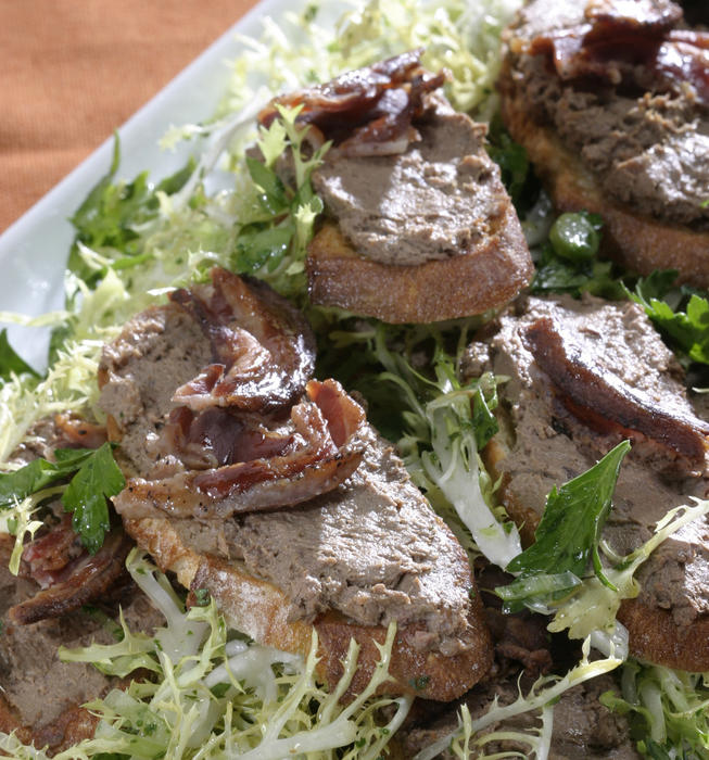 AOC chicken liver crostini with pancetta