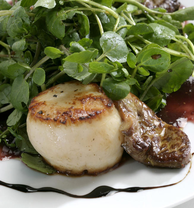 Foie gras and diver scallops with fig puree and watercress