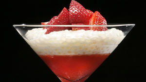 Tapioca with strawberry gelee and fresh strawberries