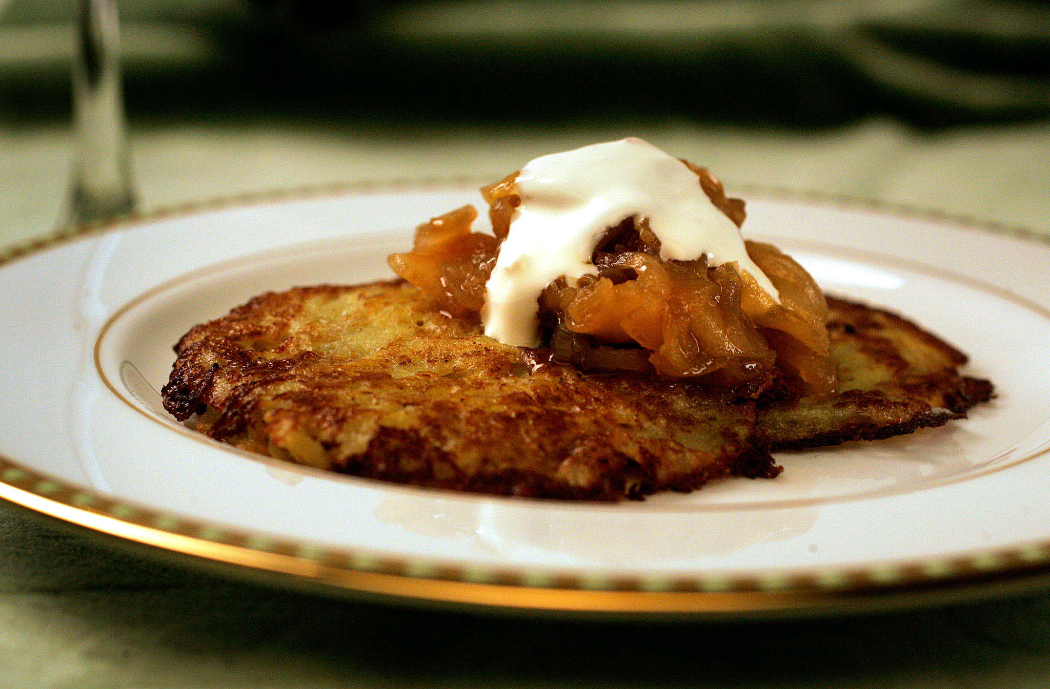 Potato pancakes with apple-onion jam and horseradish creme fraiche