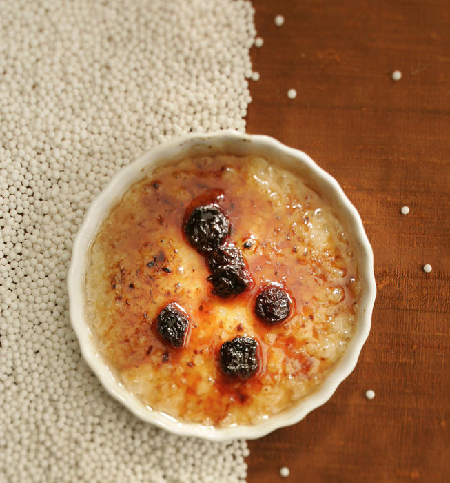 Cinnamon tapioca brulee with cherry gastrique