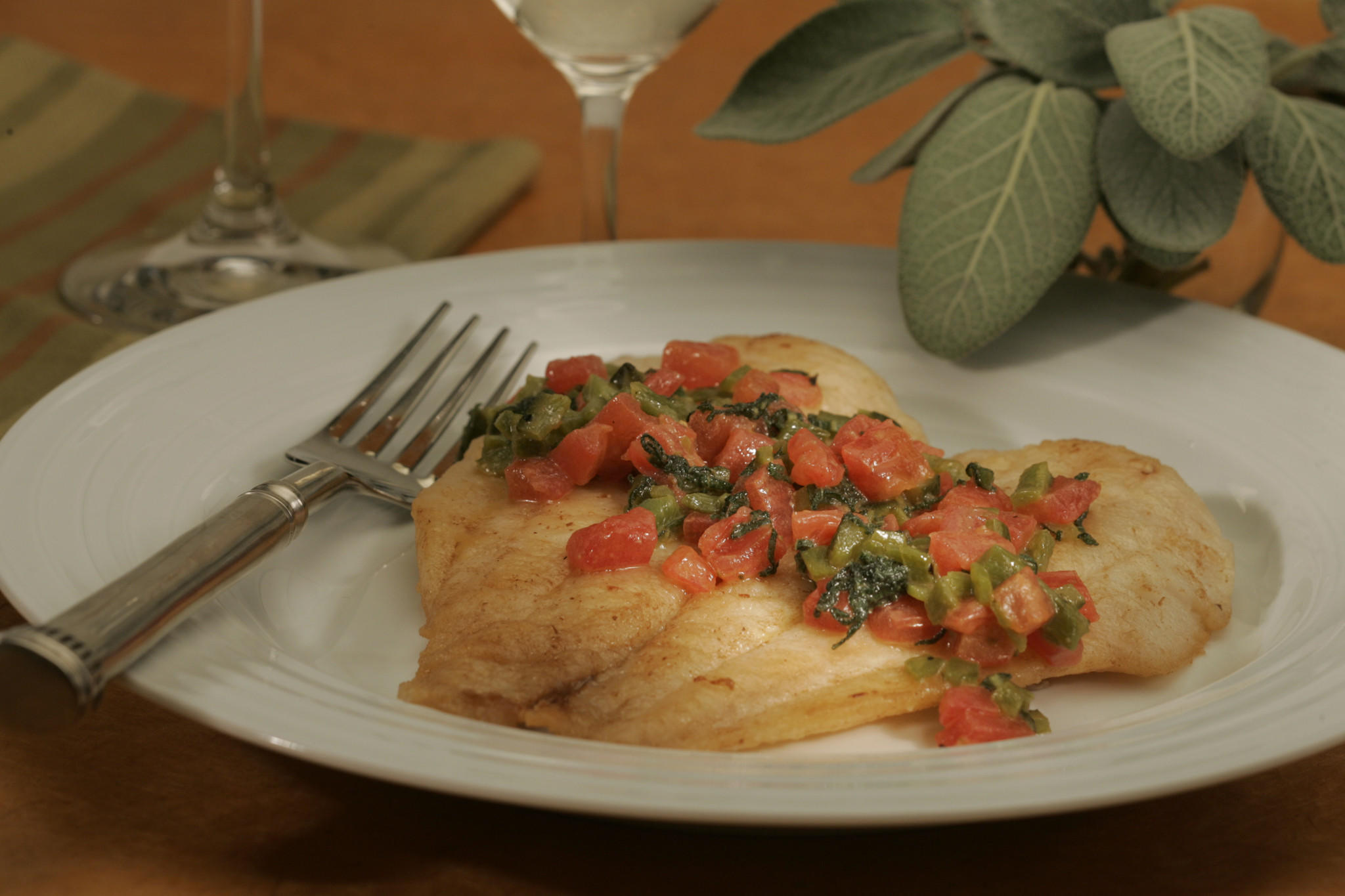 Petrale sole with sage, poblano and tomatoes
