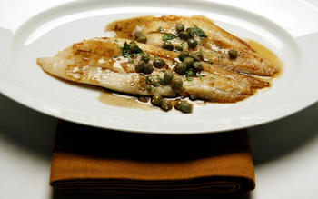 Petrale sole in brown butter-caper sauce