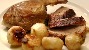 Crispy spiced duck with roasted baby turnips