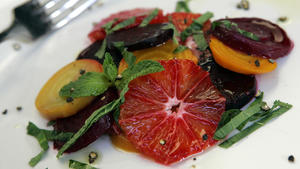Beets and blood oranges with mint and orange flower water