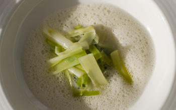 Leeks with oyster emulsion