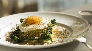 Spaghetti with bottarga and fried egg