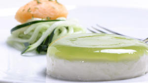 Yogurt panna cotta with cucumber 'noodles'
