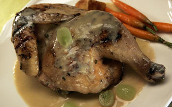 Roasted chicken with grape sauce (Pollo arrosto con salsa d'uva)