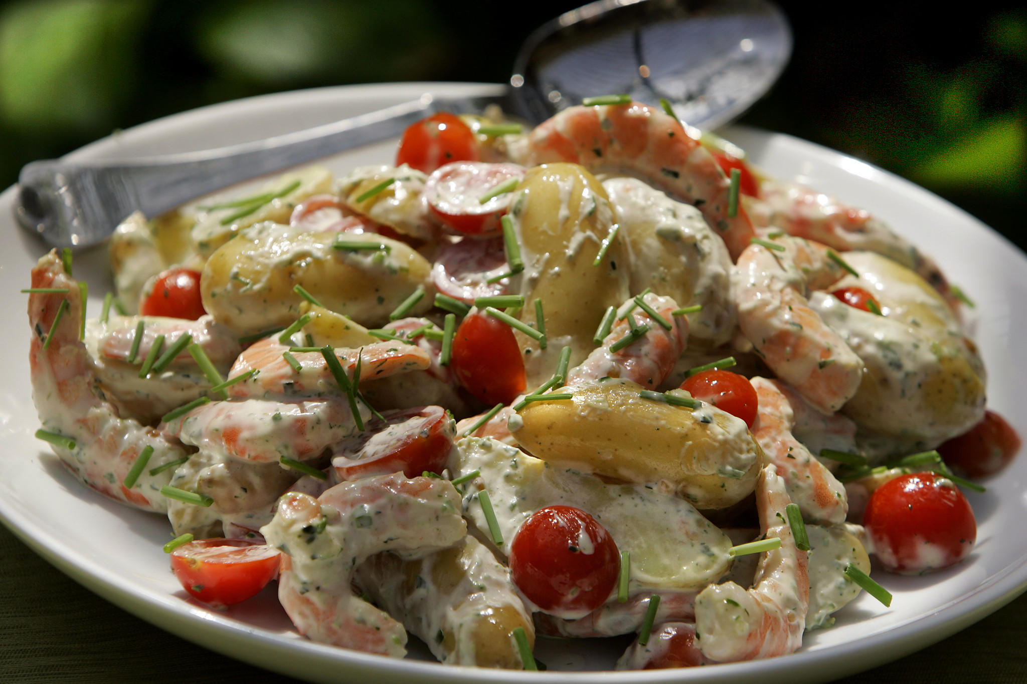 Potato and shrimp salad with green goddess dressing