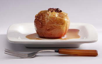 Maple baked apples with dried fruit and nuts