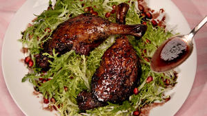 Pomegranate-braised duck legs