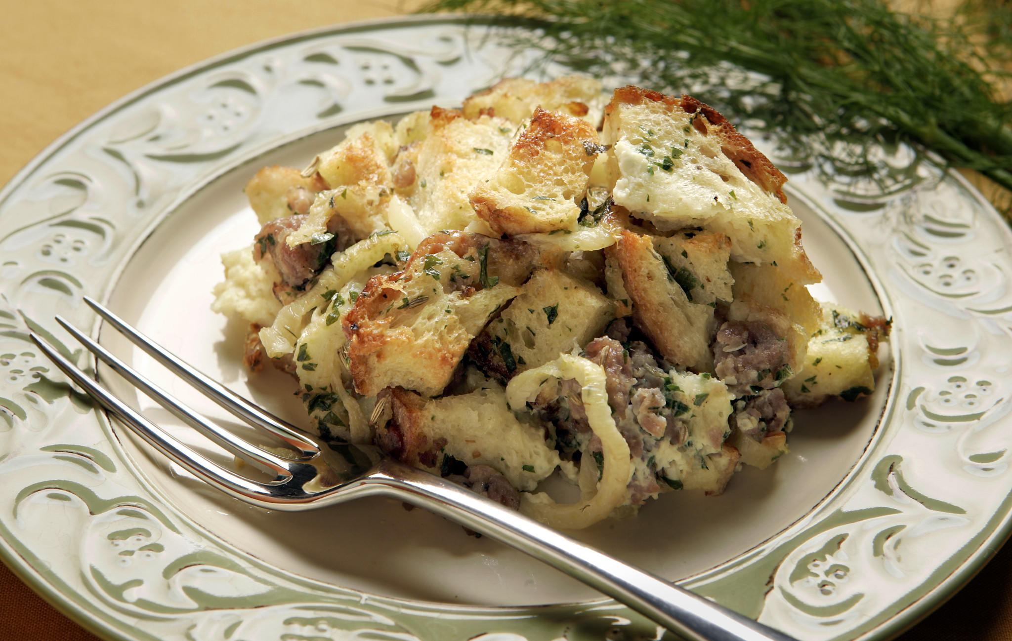 Fennel and sausage bread pudding