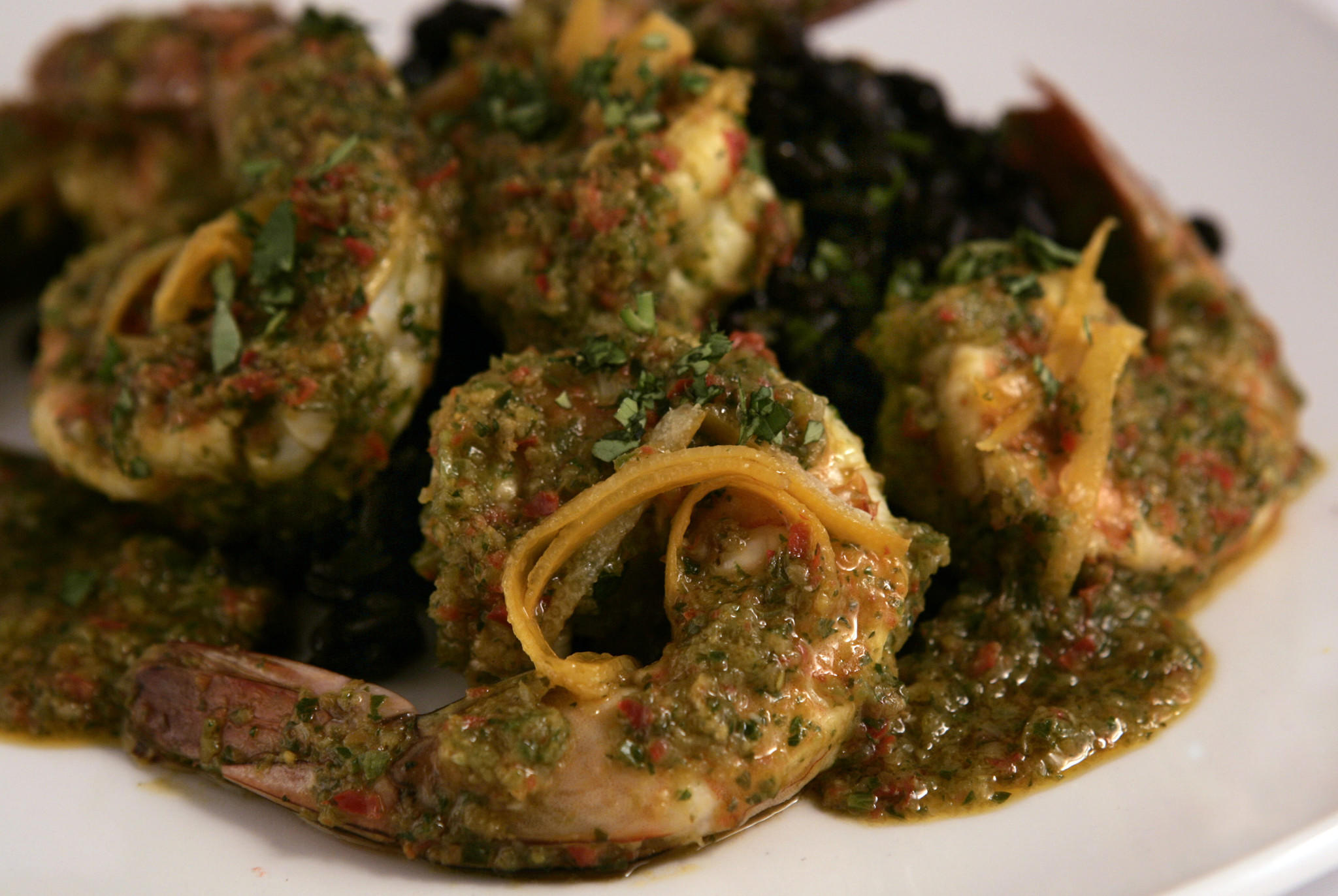 Shrimp Piri piri with quick-preserved Meyer lemons