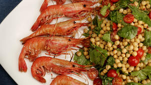 Grilled spot prawns with garbanzo beans, tomatoes and arugula