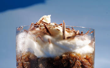 Espresso granita with white chocolate cream