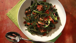 Wilted dandelion greens with bacon