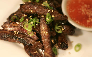 Grilled Asian beef short rib appetizer