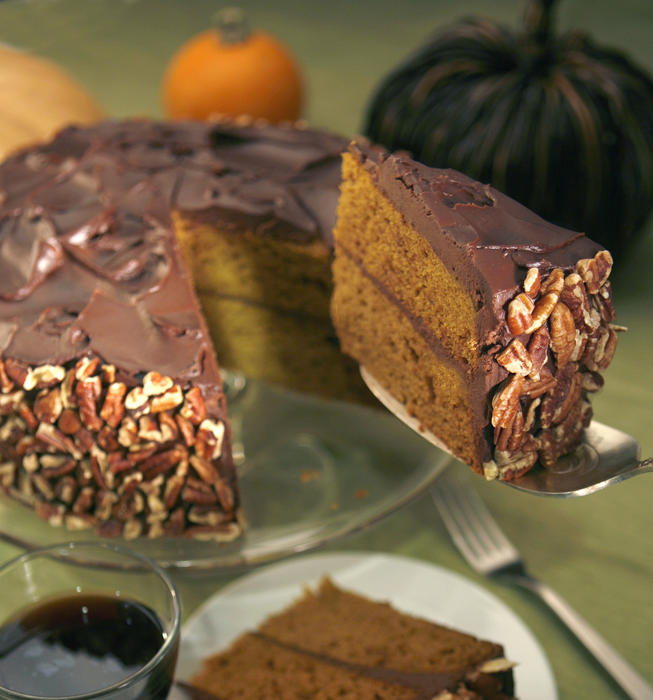 Pumpkin cake with sour cream ganache