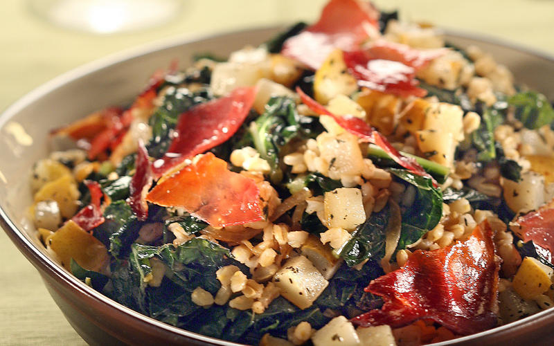 Warm barley and kale salad with roasted pears and candied prosciutto