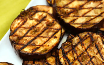 Grilled eggplant with anchovies, garlic and rosemary
