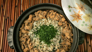 Rice with chicken and dandelion greens